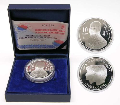 Lieferumfang:Spanien : 10 Euro Isabel I. inkl. Originaletui und Zertifikat  2004 PP