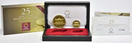 Lieferumfang:Österreich : 125 Euro 25 Jahre Wiener Philharmoniker in Gold 1x100 Euro , 1x25 Euro = 1 1/4 Unzen Gold  2014 PP