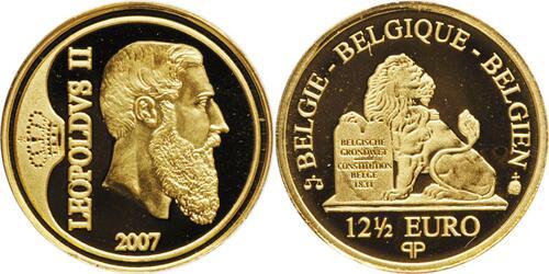 Lieferumfang:Belgien : 12,5 Euro Leopold II. inkl. Zertifikat und Originalkapsel  2007 PP