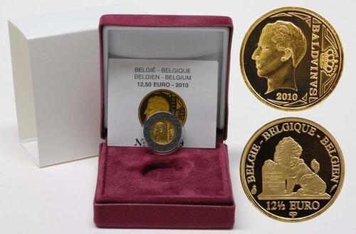 Lieferumfang:Belgien : 12,5 Euro König Boudewijn inkl. Originaletui und Zertifikat  2010 PP 12 1/2 Euro Belgien 2010