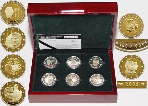 Lieferumfang:Luxemburg : 12 Euro Set: 6x 2 Euro Gedenkmünzen von 2004-2008 - Besonderheit : Prägezeichen Ausgabe 2005+2006  2008 PP Luxemburg 2 Euro Set PP