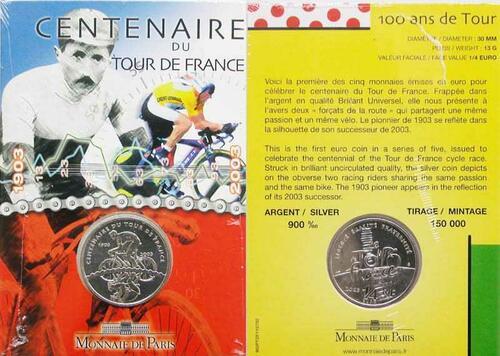 Lieferumfang:Frankreich : 1/4 Euro 100 Jahre Tour de France, original verschweißt  2003 bfr