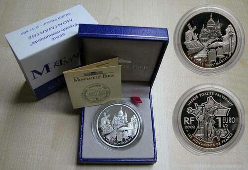 Lieferumfang:Frankreich : 1,5 Euro Montmartre inkl. Zertifikat und Originaletui  2002 PP