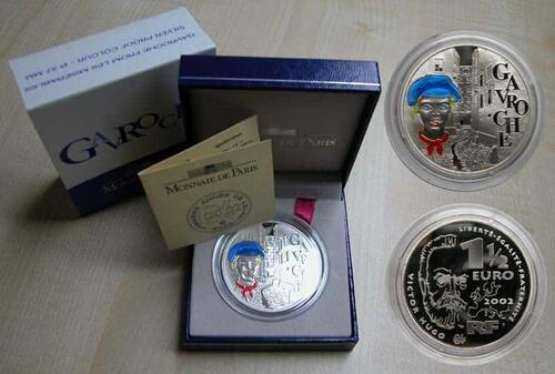 Lieferumfang:Frankreich : 1,5 Euro Gavroche inkl. Zertifikat und Originaletui  2002 PP