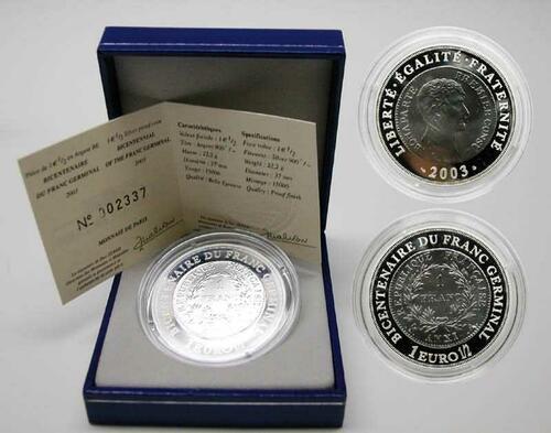 Lieferumfang:Frankreich : 1,5 Euro Franc Germinal inkl. Originaletui und Zertifikat  2003 PP