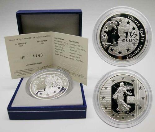 Lieferumfang:Frankreich : 1,5 Euro Die Säerin inkl. Originaletui und Zertifikat  2004 PP