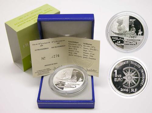 Lieferumfang:Frankreich : 1,5 Euro Transsibirische-Eisenbahn inkl. Originaletui und Zertifikat  2004 PP