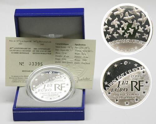 Lieferumfang:Frankreich : 1,5 Euro 60 Jahre Ende des Zweiten Weltkrieges inkl. Originaletui und Zertifikat  2005 PP