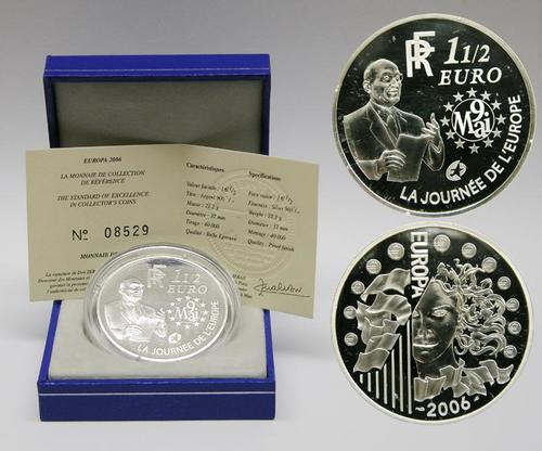 Lieferumfang:Frankreich : 1,5 Euro Europa-Münze, incl. Originaletui und Zertifikat  2006 PP 1,5 Euro Europa 2006