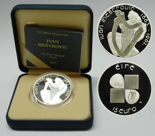 Lieferumfang:Irland : 15 Euro Ivan Mestrovic inkl. Originaletui und Zertifikat  2007 PP 15 Euro Irland 2007
