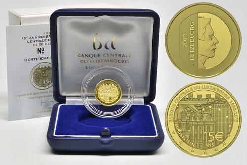 Lieferumfang:Luxemburg : 15 Euro 15 Jahre Zentralbank Luxemburg  2013 PP