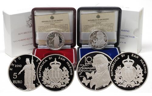 Lieferumfang:San Marino : 15 Euro Set aus 5 Euro Expo Shanghai 2010 und 10 Euro Robert Schumann inkl. Originaletui und Zertifikat  2010 PP