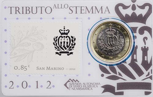 Lieferumfang:San Marino : 1 Euro Mini-Kit mit 85ct Briefmarke  2012 vz/Stgl.