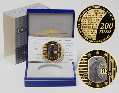 Lieferumfang:Frankreich : 200 Euro Menschenrechte - mit schwarzem Gold inkl. Originaletui und Zertifikat  2009 PP