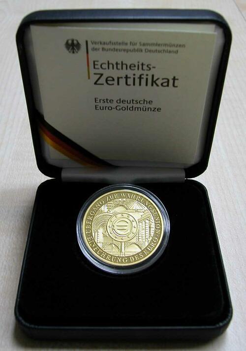 Lieferumfang:Deutschland : 200 Euro Auf die Einführung des Euro-Bargeldes , 1 Unze Feingold, Münzzeichen unserer Wahl  2002 Stgl.