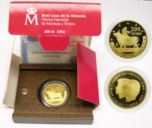 Lieferumfang:Spanien : 200 Euro 1. Geburtstag des Euros inkl. Zertifikat und Originalholzkassette  2003 PP 200 Euro Spanien 2003; Geburtstag des Euros