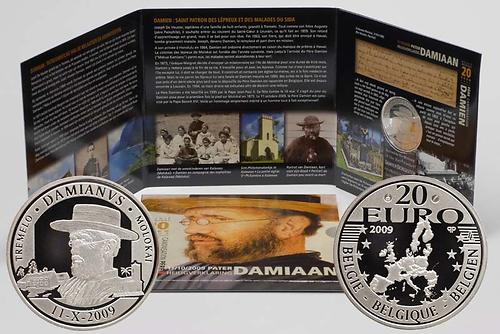 Lieferumfang:Belgien : 20 Euro Pater Damiaan in Originalblister  2009 PP Damien