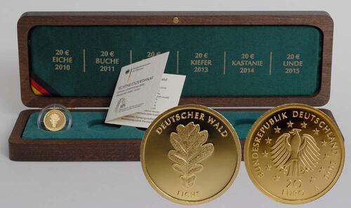 Lieferumfang:Deutschland : 20 Euro Eiche Komplettsatz 5 Münzen inkl. Holzkassetten  2010 Stgl. Komplettsatz 20 Euro Eiche 2010
