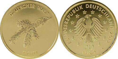 Lieferumfang:Deutschland : 20 Euro Fichte Komplettsatz 5 Münzen ADFGJ  2012 Stgl.