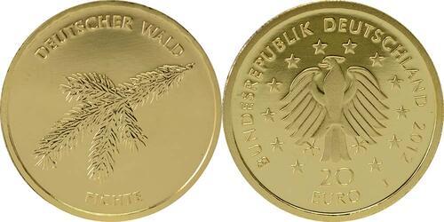 Lieferumfang:Deutschland : 20 Euro Fichte Buchstabe unserer Wahl  2012 Stgl.