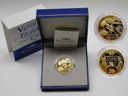 Lieferumfang:Frankreich : 20 Euro Verkauf des Staates Louisiana an die USA, inkl. Originaletui und Zertifikat  2003 PP