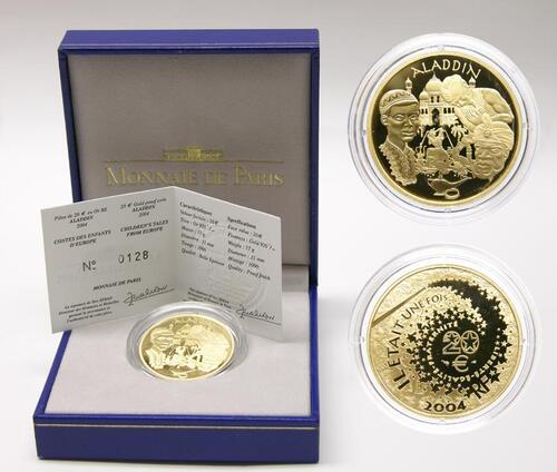 Lieferumfang:Frankreich : 20 Euro Aladin inkl. Zertifikat und Originaletui  2004 PP