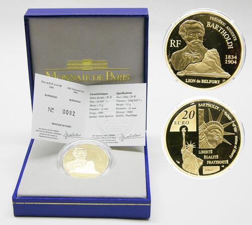 Lieferumfang:Frankreich : 20 Euro Bartholdi inkl. Originaletui und Zertifikat  2004 PP