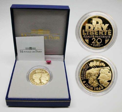 Lieferumfang:Frankreich : 20 Euro 60. Jahrestag D-Day, inkl. Originaletui und Zertifikat  2004 PP