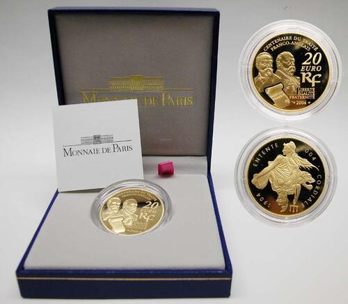 Lieferumfang:Frankreich : 20 Euro Entente Cordiale, inkl. Originaletui und Zertifikat  2004 PP