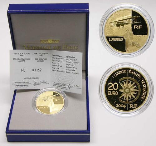 Lieferumfang:Frankreich : 20 Euro Doppeldecker inkl. Originaletui und Zertifikat  2004 PP