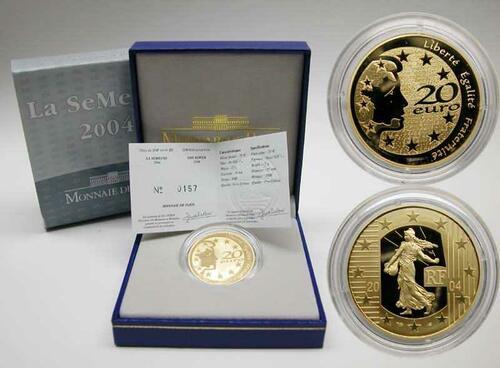 Lieferumfang:Frankreich : 20 Euro Die Säerin, inkl. Originaletui und Zertifikat  2004 PP