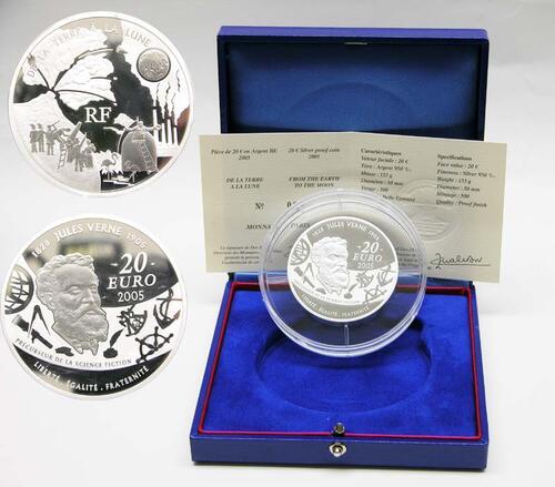 Lieferumfang:Frankreich : 20 Euro Von der Erde zum Mond - Auflage : 500 Exemplare, inkl. Originaletui und Zertifikat  2005 PP