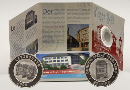 Lieferumfang:Luxemburg : 20 Euro 150 Jahre Staatsrat im Originalblister (Titan / Silber)  2006 PP 20 Euro Titan