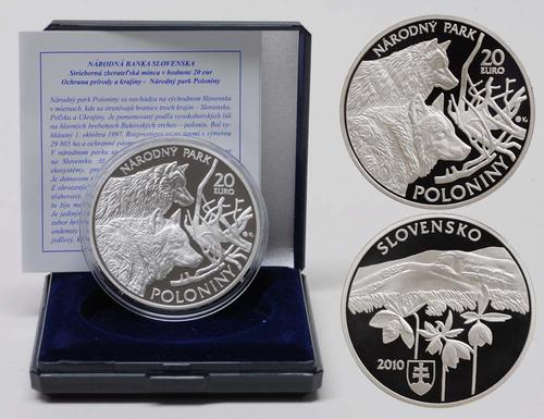 Lieferumfang:Slowakei : 20 Euro Nationalpark Poloniny inkl. Originaletui und Zertifikat  2010 PP