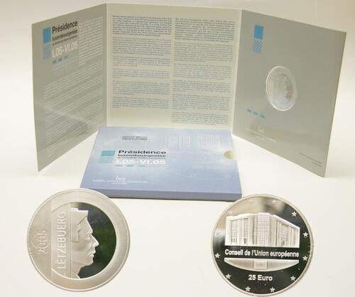 Lieferumfang:Luxemburg : 25 Euro Rat der Europäischen Union im Originalblister  2005 PP