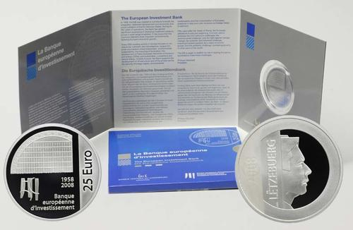 Lieferumfang:Luxemburg : 25 Euro Investmentbank im Originalblister  2008 PP