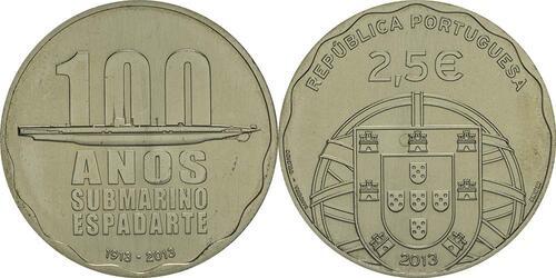 Lieferumfang:Portugal : 2,5 Euro 100 Jahre erstes portugiesisches U-Boot  2013 Stgl.
