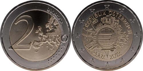Lieferumfang:Österreich : 2 Euro 10 Jahre Euro Bargeld  2012 bfr