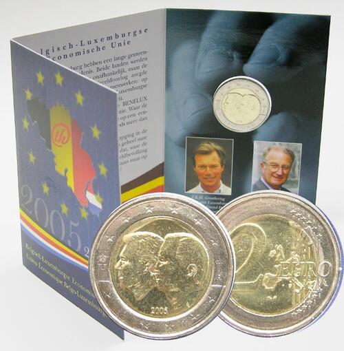 Lieferumfang:Belgien : 2 Euro Henri und Albert II. im Originalblister  2005 vz/Stgl.