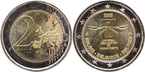 Lieferumfang:Belgien : 2 Euro Menschenrechte  2008 bfr 2 Euro Menschenrechte 2008 Belgien