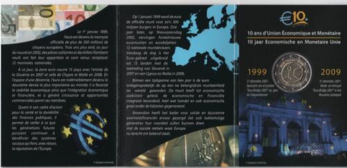 Lieferumfang:Belgien : 2 Euro 10 Jahre Euro im Originalblister  2009 Stgl.