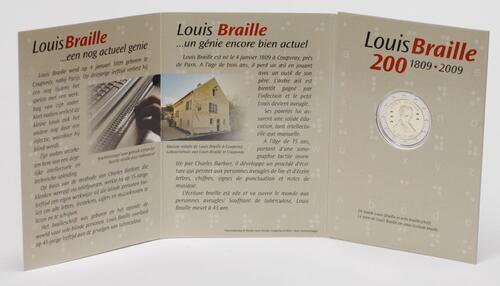 Lieferumfang:Belgien : 2 Euro Louis Braille  2009 Stgl.