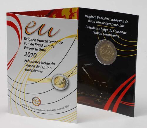 Lieferumfang:Belgien : 2 Euro EU-Präsidentschaft im Originalblister  2010 Stgl.