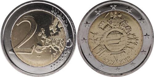 Lieferumfang:Belgien : 2 Euro 10 Jahre Euro Bargeld  2012 bfr
