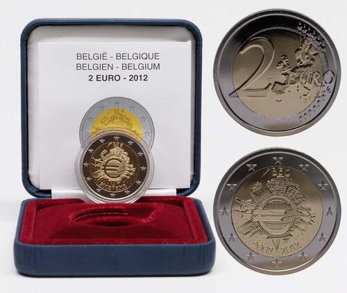 Lieferumfang:Belgien : 2 Euro 10 Jahre Euro Bargeld  2012 PP