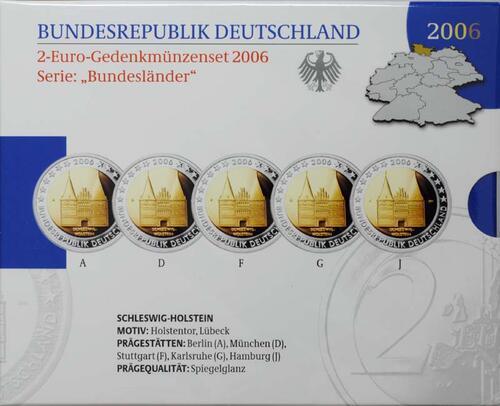 Lieferumfang:Deutschland : 2 Euro Schleswig - Holstein Holstentor Lübeck Komplettsatz im Originalblister  2006 PP