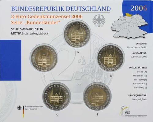 Lieferumfang:Deutschland : 2 Euro Schleswig - Holstein Holstentor Lübeck Komplettsatz im Originalblister  2006 Stgl.