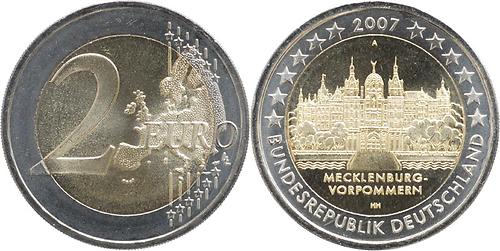 Deutschland 2 Euro Mecklenburg Vorpommern Schloß Schwerin 2007 Ku