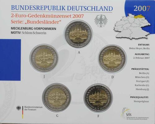 Lieferumfang:Deutschland : 2 Euro Mecklenburg - Vorpommern Schloß Schwerin  2007 Stgl.
