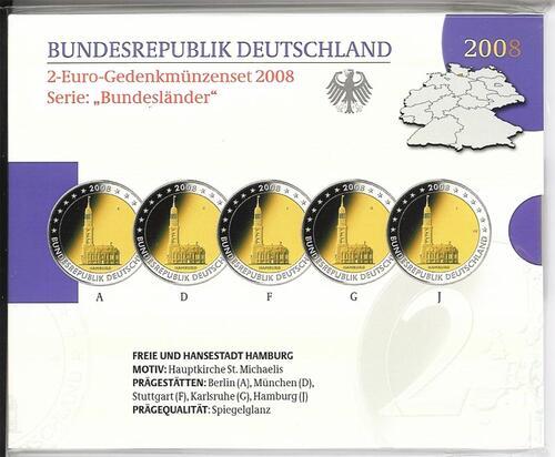 Lieferumfang:Deutschland : 2 Euro Hamburger Michel - St. Michaeliskirche Komplettsatz im Originalblister 5 x 2 Euro  2008 PP
